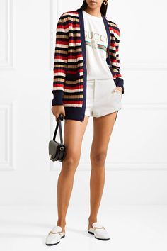 Gucci | Ribbed knit-trimmed tech-jersey shorts | NET-A-PORTER.COM