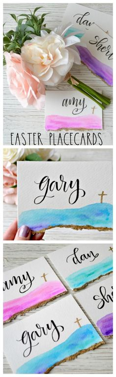 Hand Lettered Easter Place Cards with Watercolors - Amy Latta Creations Diy Crafts For Adults, Easy Diy Crafts, Diy Craft Projects, Brush Lettering, Hand Lettering, Beautiful Lettering, Easter Crafts, Easter Ideas, Easter Party