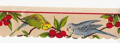 Vintage 50s Kitchen Paper Scallop Shelf Edging Budgies Parakeets Cherries   eBay  I had this one and simply wore it out. I wish I had it back.