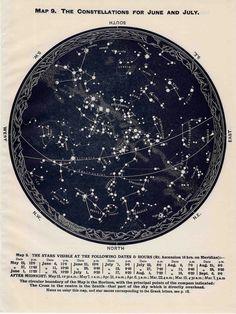 1963 constellations star map original vintage celestial print june july august - northern hemisphere.