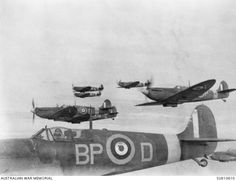 UNITED KINGDOM. 1942-02. SPITFIRE AIRCRAFT OF NO. 457 SQUADRON RAAF IN FORMATION. NOTE: THE AIRCRAFT IN THE FOREGROUND IS CODE NAMED BP-D.