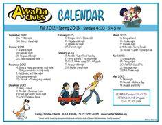 Super example of an AWANA Calendar! Fun and easy to read.