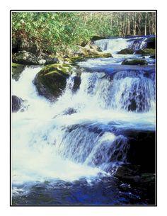 Waterfalls down Mossy Rocks-Digital Download-ClipArt-ArtClip-Digital