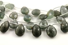 Natural moss aquamarine seafoam green faceted pear by Beadspoint, $49.99