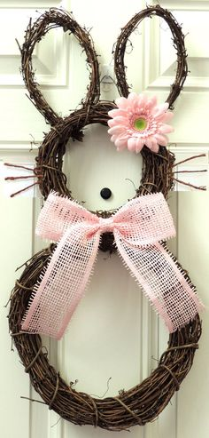 Pink Grapevine Bunny Wreath Easter wreath Paper mesh flower Bow Spring Wreath Grapevine Rabit Wreath Door hanger Wall Easter Decoration