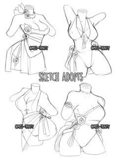 Sketch outfits adopts [OPEN] in points.. by Miss-Trinity on DeviantArt Body Reference Drawing, Drawing Reference Poses, Anime Drawings Sketches, Cute Drawings, Drawing Anime Clothes, Clothes Design Drawing, M Anime, Drawing Expressions, Fashion Design Drawings