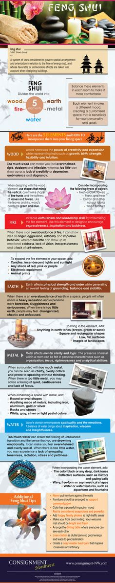 Traditional Feng Shui divides the world into 5 elements: wood, fire, water, metal, earth. Each element invokes a different mood, creating a customized space that is beneficial for your personality and goals.  Here are ways you can incorporate these 5 elements into your living space: