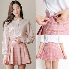 "Pink/grey grid tall waist pleated skirt SE10281      Coupon code ""cutekawaii"" for 10% off"