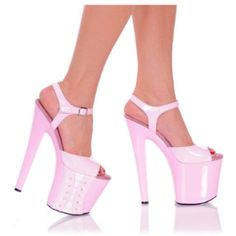 The Highest Heel Women's Platform Sandal,White/Pink M US. 7 1 2 Inch Platform Shoe With Corset Detail On the Side of the Platform. Made of Patent Leather Upper and Straps . Pink High Heels, Platform High Heels, Sexy High Heels, Womens High Heels, Hot Heels, Pumps Heels, Stilettos, Bootie Boots, Shoe Boots
