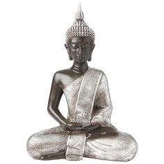 Diese Buddha-Figur bringt eine entspannte, meditative Atmosphäre in Ihr Zuhause! Die handgemachte Dekoration ist aus glänzendem Kunststoff gefertigt und aufwändig verziert. Auf nach Asien!