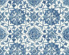 A.S. Faro 4 - 96247-1 - Tapete Papier Floral Natur blau weiß Landhaus Fliesen in Heimwerker, Farben, Tapeten & Zubehör, Tapeten & Zubehör | eBay