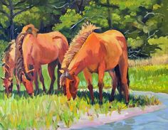 Carrot Island Grazers 24x30 oil on canvas this painting won award for best figure in landscape at Carolina Artist Gallery in Morehead City