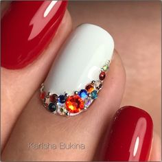 Nails - Nagel Bling Nail Art, Rhinestone Nails, Bling Nails, Nagel Bling, Nail Jewels, Diamond Nails, Manicure E Pedicure, Crystal Nails, Super Nails