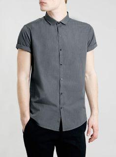 Grey Marl Short Sleeve Smart Shirt - Short Sleeve Shirts - Men's Shirts - Clothing- TOPMAN