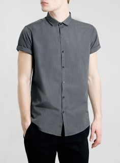 Grey Marl Short Sleeve Smart Shirt - Short Sleeve Shirts - Men's Shirts - Clothing- TOPMAN