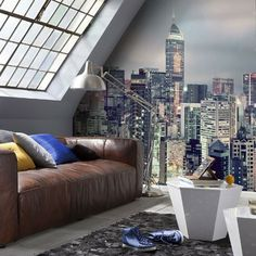Fototapet Peisaj urban Skyline cu o mare de lumini Poster Mural, Deco Studio, Color Of The Year 2017, Skyline, Urban Loft, Room Wallpaper, Wallpaper Murals, Wallpaper Ideas, Paint Furniture