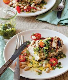 Grilled chicken breasts with salsa verde and white beans. (Photo: Kate Sears) #glutenfree #recipe