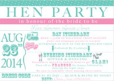 Hen do invite for the bridal party