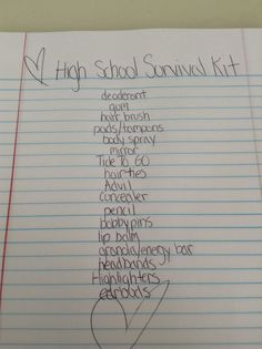 This is a freshman/middle school survival kit. More