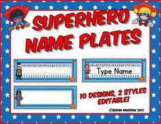 Superhero Name Plates Editable! - Superhero Theme Classroom Decor - You're going to love using these name plates in your preschool, Kindergarten, 1st, 2nd, 3rd, 4th, or 5th grade classroom or homeschool. Click through to learn more about the primary and blank desk plates available. They'll look great in your superhero theme work space! $