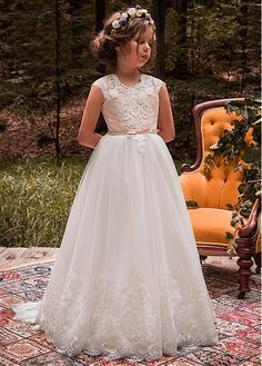 DressilyMe Bridal Dresses Online,Wedding Dresses Ball Gown, chic tulle jewel neckline casleeves a line flower girl dresses with beaded lace appliques belt Ball Dresses, Ball Gowns, Evening Dresses, Fall Flower Girl, Flower Girl Updo, Flower Girls, Wedding Flower Girl Dresses, Tulle Wedding, Wedding Dresses For Kids