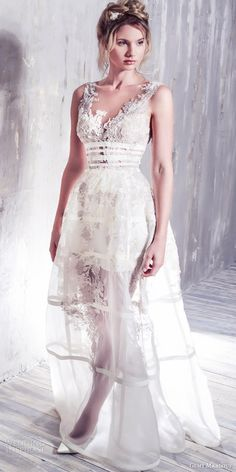 GEMY MAALOUF #bridal 2016 romantic sleeveless #wedding dress illusion jewel neckline lace bodice overskirt