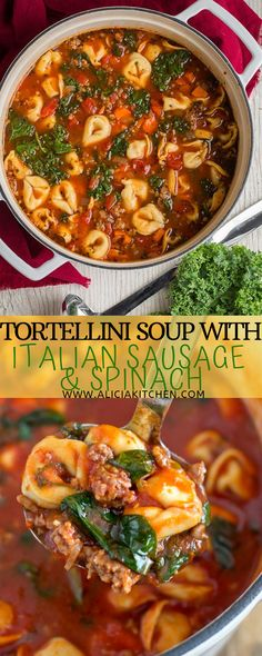 Tortellini Soup with Italian Sausage – Tasty Recipes Italian Sausage Tortellini Soup, Spinach Tortellini Soup, Italian Sausage Recipes, Tortellini Recipes, Italian Soup, Pasta Soup, Spinach Recipes, Soup Recipes, Dinner Recipes