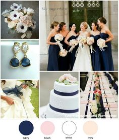 Color Series #7 - Navy + Blush + White. Wedding colors by CBFWblog