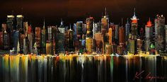 schilderijen van skyline amsterdam en haven City Landscape, Abstract Landscape, Landscape Paintings, Skyline, City Painting, Nyc Art, New York Art, Art Moderne, Urban Life