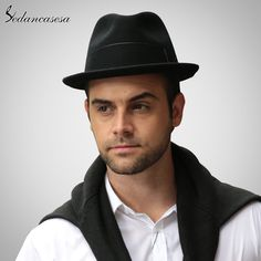 1bbc072979c Fashion Design Feather Mens Wool Felt Hat Wholesale High Quality Black  Khaki Hats Like if you