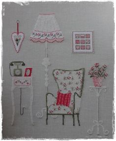 Embroidery is fabulous. Especially when you create a tiny little house with it! Ribbon Embroidery, Embroidery Art, Cross Stitch Embroidery, Embroidery Patterns, Modern Cross Stitch, Cross Stitch Designs, Cross Stitch Patterns, Buch Design, Cross Stitching