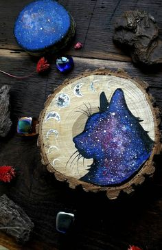 Cat painting animal wood painting silhouette by MagicWoodCreations Painted Rocks, Hand Painted, Wood Slice Crafts, Diy And Crafts, Arts And Crafts, Christmas Crafts, Christmas Ornaments, Beach Christmas, Christmas Tree