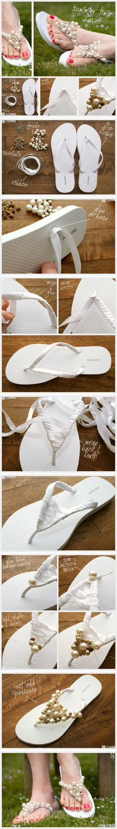 DIY: Fun flip flops! Can be done in so many styles and colors! or with lace