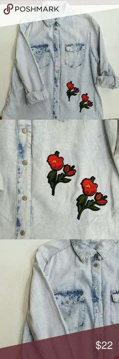 New Denim button up top rose applique embroidered Rose applique denim button up.  Sizes S-M-L Jean Jacket Clothing Tops Button Down Shirts