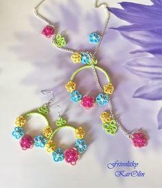 tatted necklace and earings - tatted jewellery from Frivolitky KarOlin, handmade jewellery