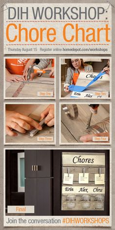 Are you a DIY-er? Join us for a Girls Night Out at The Home Depot Do-It-Herself Workshop on August to build chore charts for your family! Home Depot Projects, Diy Craft Projects, Bedtime Chart, Chore Board, Kids Planner, Budget Organization, Clinic Design, Diy Workshop, Chores For Kids
