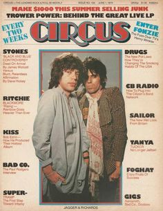 Mick Jagger & Keith Richards on the cover of Circus June 01, 1976