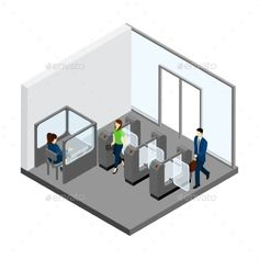 Underground entrance with people turnstiles and tickets isometric vector illustration. Editable EPS and Render in JPG format