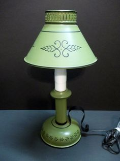 Small Mid Century Green Toleware Table Lamp Desk by donDiLights