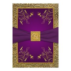 Shop Royal Purple and Gold Monogram Wedding Invitation created by NiteOwlStudio. Personalize it with photos & text or purchase as is! 90th Birthday Invitations, Monogram Wedding Invitations, Spring Wedding Invitations, 90th Birthday Parties, Elegant Invitations, Wedding Invitation Design, Wine Birthday, Invitation Ideas, Royal Blue And Gold