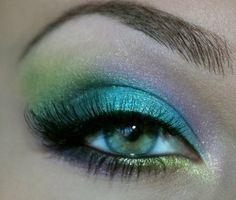 Teal, lime, aqua and lilac mermaid eye make up