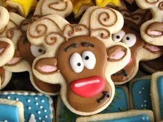 Reindeer sugar cookies with royal icing