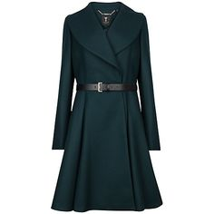 $500. Buy Ted Baker Laureol Flared Wool Blend Coat, Dark Green Online at johnlewis.com