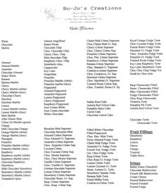 Cake Flavor List~ great list if you need some ideas...