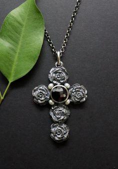 Pendant Necklace, Jewelry, Rhinestones, Beads, Dirndl, Crosses, Handmade, Silver, Jewlery