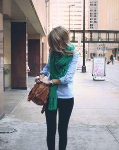 Green scarf.