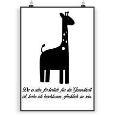 Poster DIN A4 Giraffe aus Papier 160 Gramm  weiß - Das Original von Mr. & Mrs. Panda.  Jedes wunderschöne Poster aus dem Hause Mr. & Mrs. Panda ist mit Liebe handgezeichnet und entworfen. Wir liefern es sicher und schnell im Format DIN A4 zu dir nach Hause.    Über unser Motiv Giraffe  Rekord: Giraffen sind die höchsten landlebenden Tiere der Welt. Männchen können bis zu 6 Meter hoch werden. Giraffen leben in Freiheit in der afrikanischen Savanne, in Gefangenschaft kann man sie im Zoo…