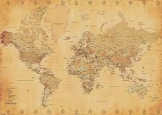 (39x55) World Map (Vintage Style, Huge) Art Poster Print Poster