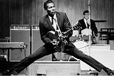 Chuck Berry  In a Tuxedo doing the famous split move! This Tux was purchased and tailored at the old Mort Cooper tailor shop (161 North State Street) in Chicago. They got plenty of emergency repair requests for the slacks! Somewhere kicking it in the 1960'!