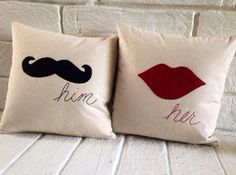 Him and Her Linen Pillows Black Moustache and by thewovenfeather Funny Throw Pillows, Diy Pillows, Linen Pillows, Decorative Pillows, Indian Inspired Decor, White Cushion Covers, Diy Gifts For Girlfriend, Pillow Crafts, Personalized Aprons